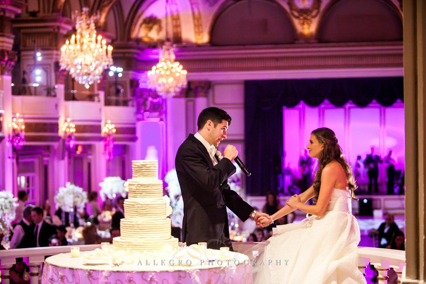 groom serenades bride at fairmont copley plaza boston wedding- photo by allegro photography