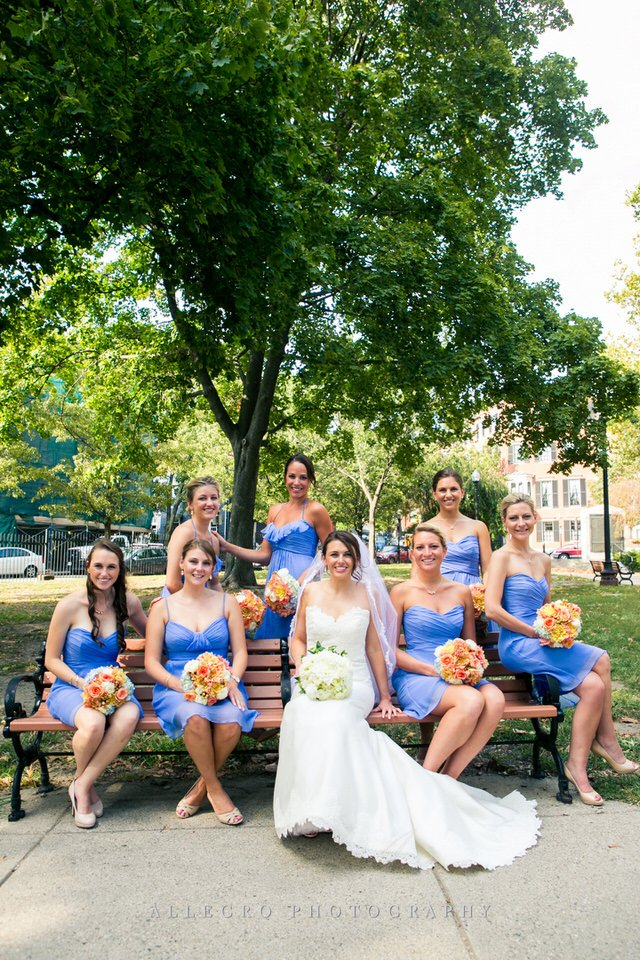 bridesmaids for boston summer wedding- blue and coral- by allegro photography