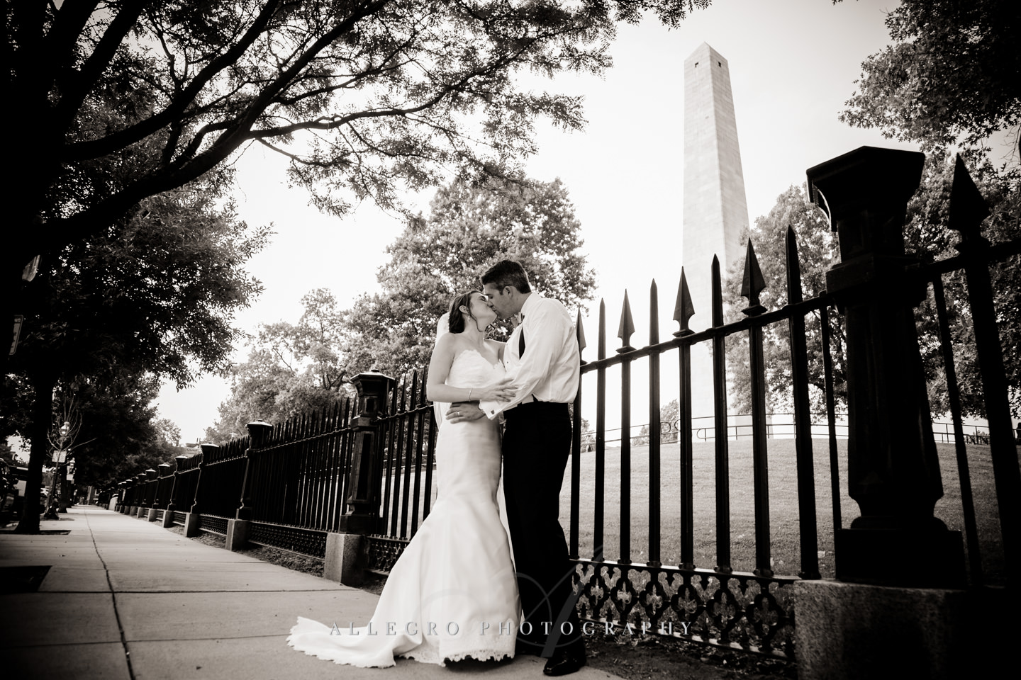bunker hill monument bride and groom  photo by Allegro Photography