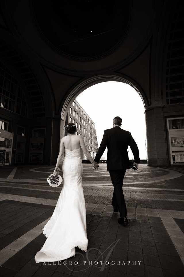 boston harbor hotel arch bride and groom  photo by Allegro Photography