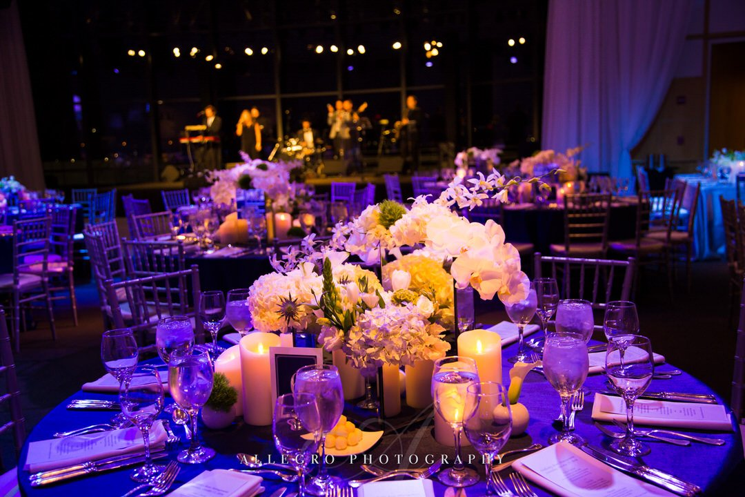 jfk library wedding - warm candlelight- floral design- photo by Allegro Photography