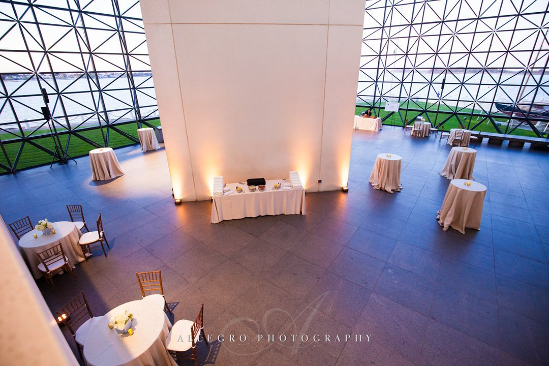 jfk library wedding - photo by Allegro Photography - cocktail hour white and gold
