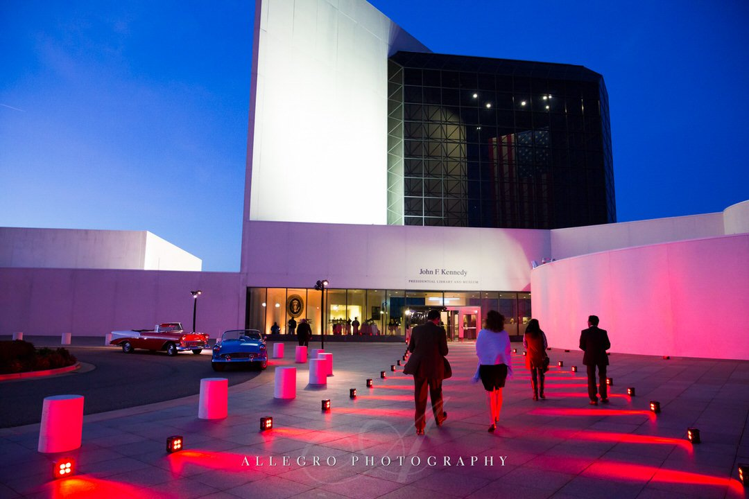 jfk library wedding - red carpet with lights - photo by Allegro Photography