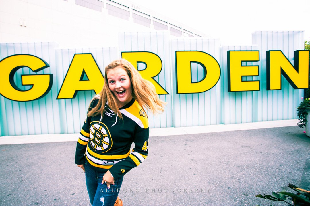 Bruins Fan Senior Photo by Wellesley Senior Photographer Allegro Photography