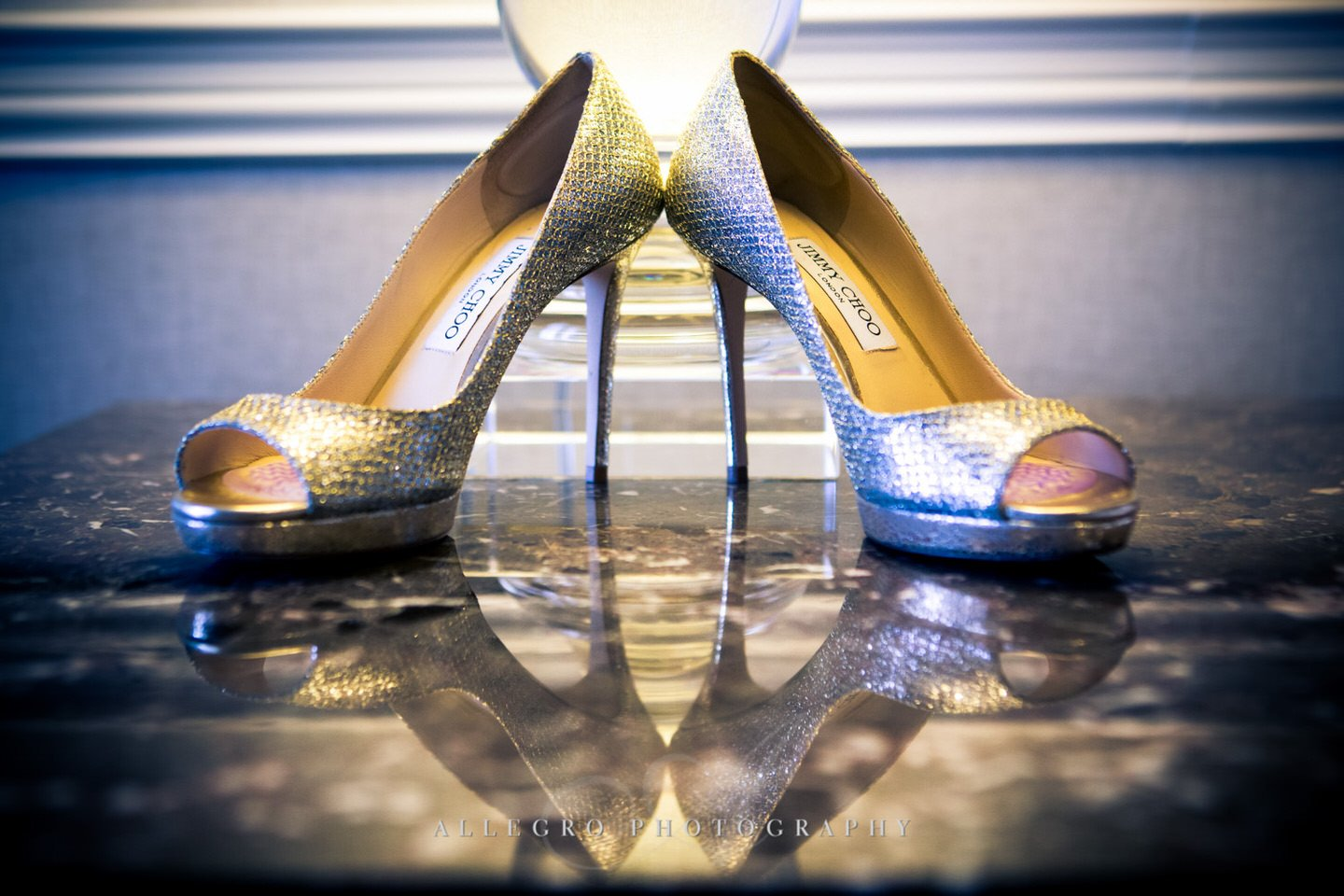 Jimmy Choo wedding shoes photo by Allegro Photography