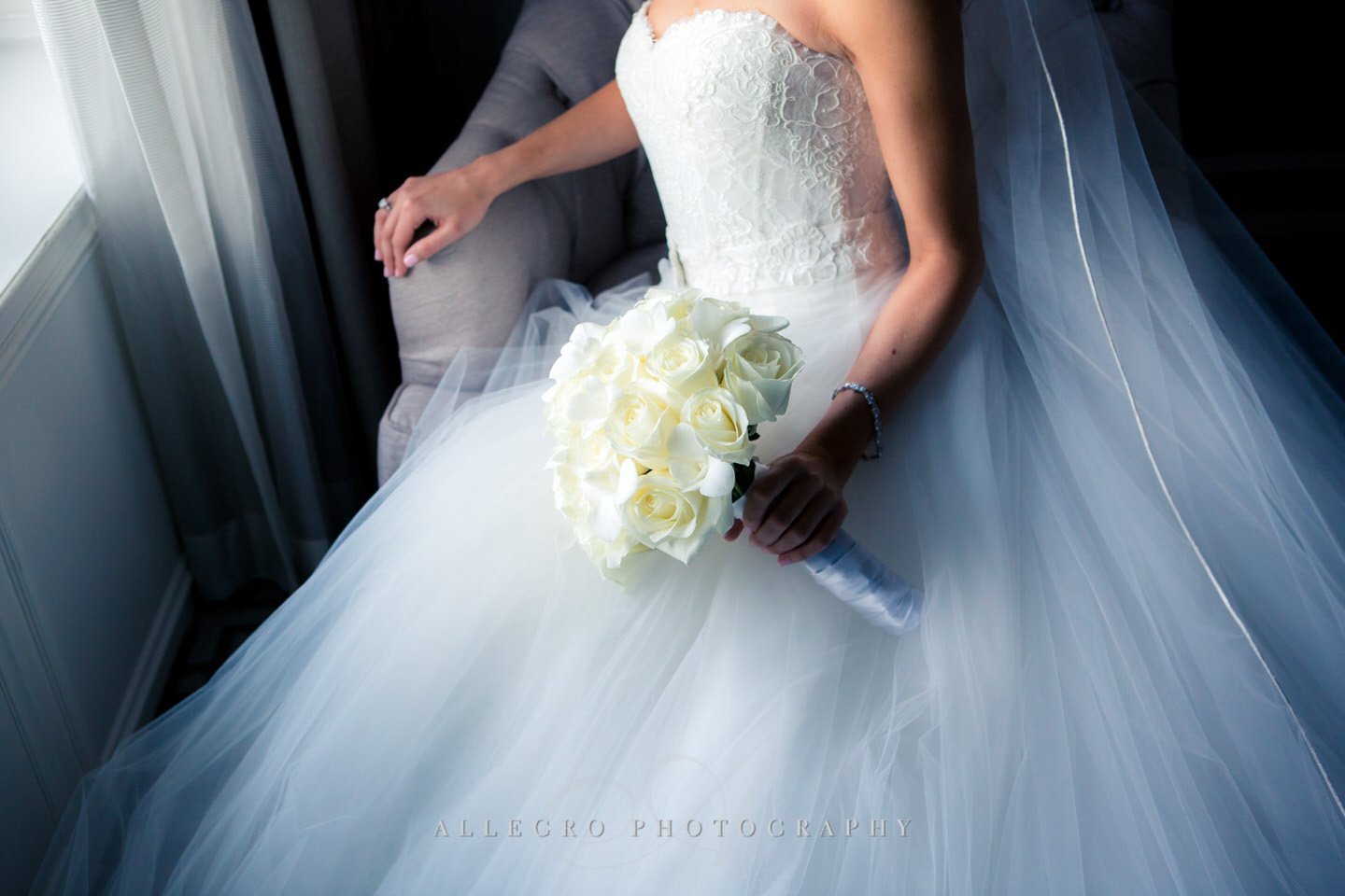 bride portrait - fairmont copley plaza wedding photo by Allegro Photography