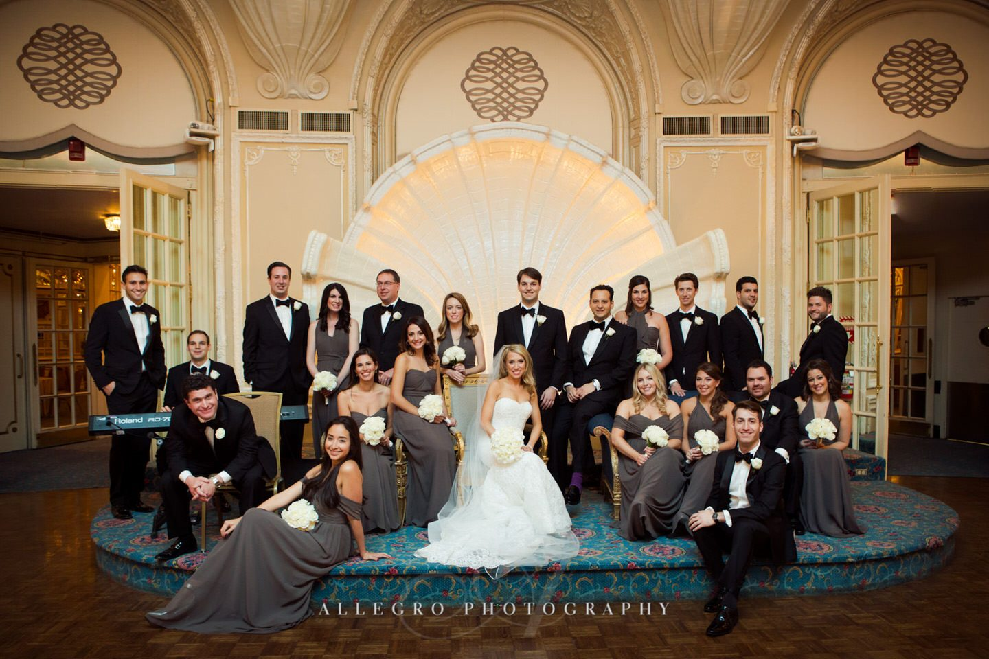 vogue style vanity fair inspired wedding party portraits - fairmont copley plaza wedding photo by Allegro Photography