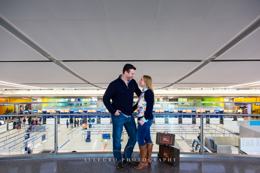 boston airport bride and groom - photo by allegro photography