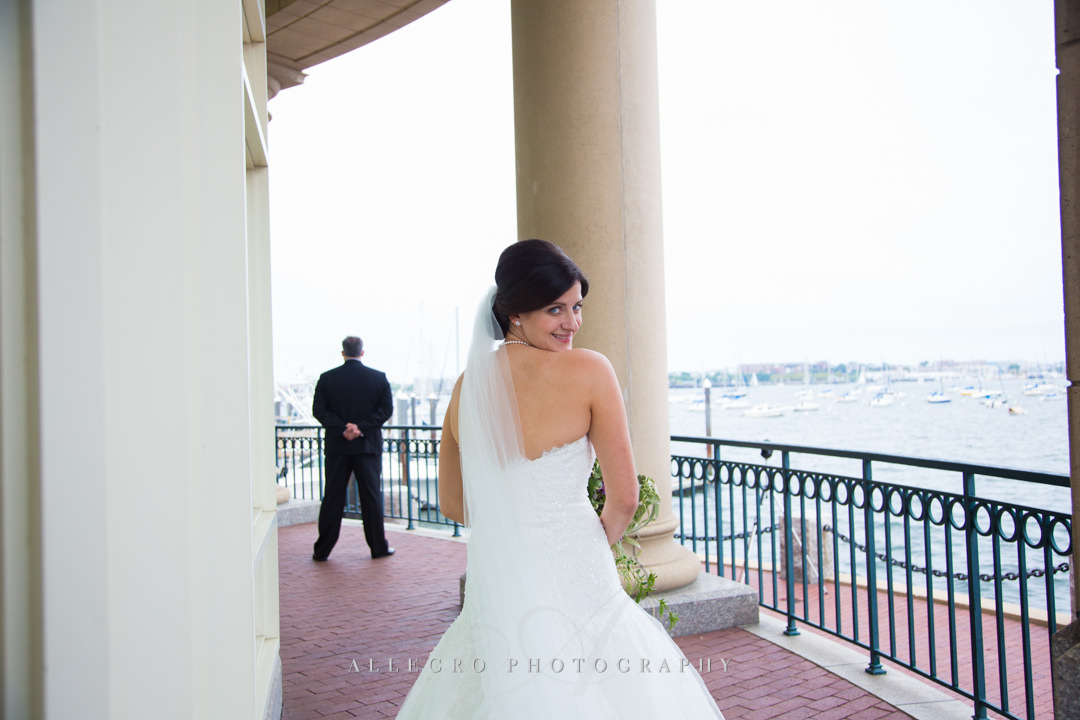 Boston bride first look - photo by allegro photography