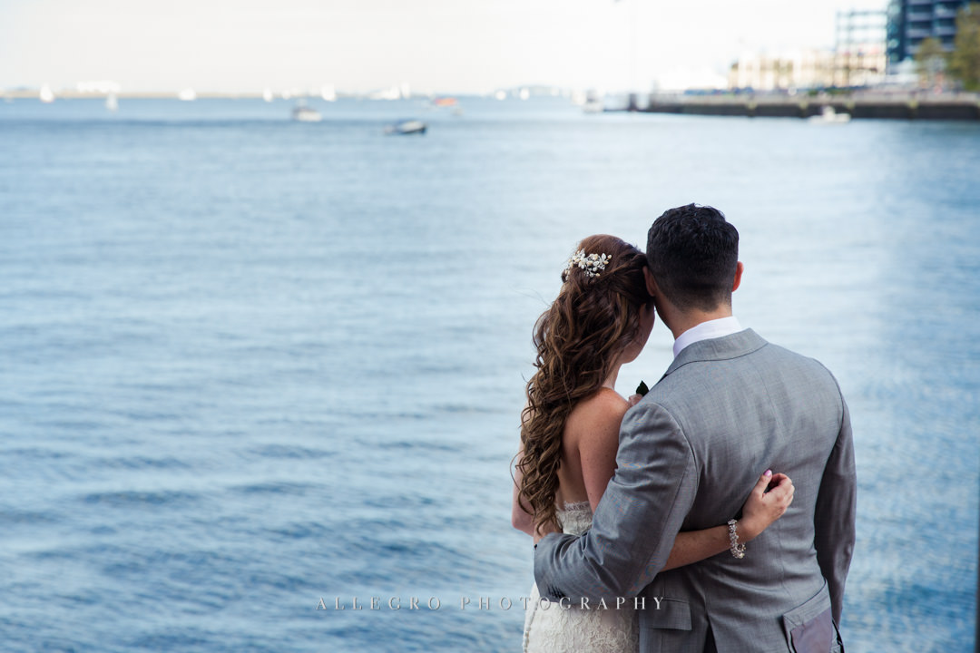 boston harbor wedding portrait - photo by allegro photography