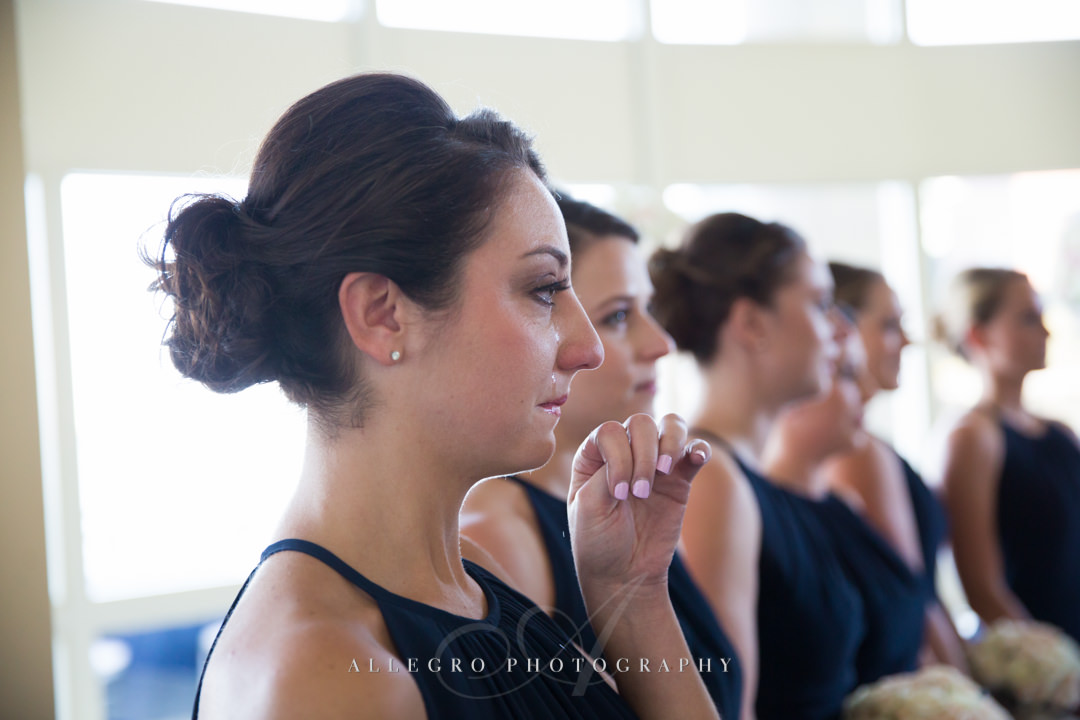 tearful bridesmaid at the boston harbor hotel - photo by allegro photography
