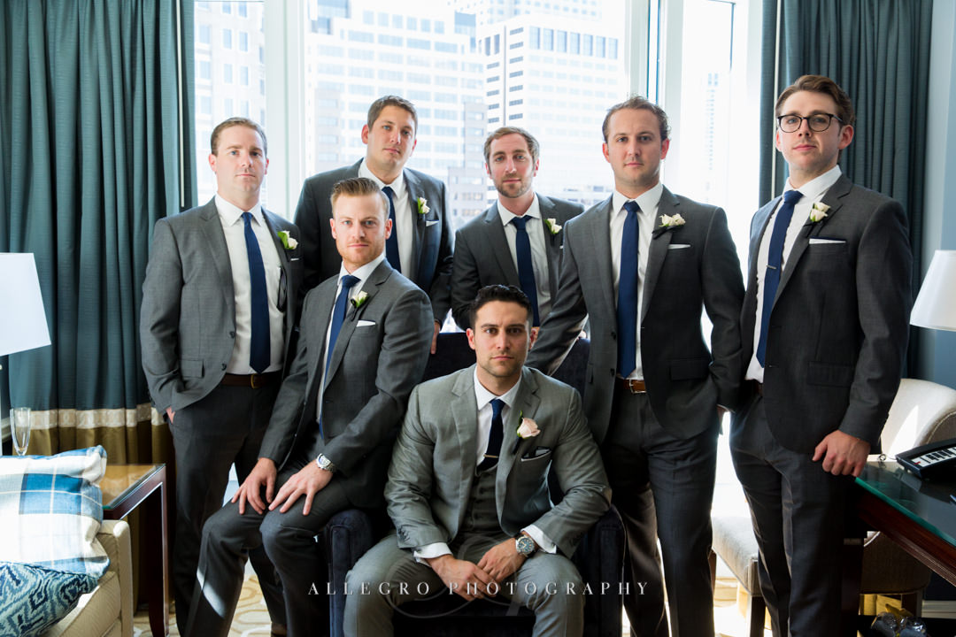 boston harbor hotel groom and groomsmen - photo by allegro photography