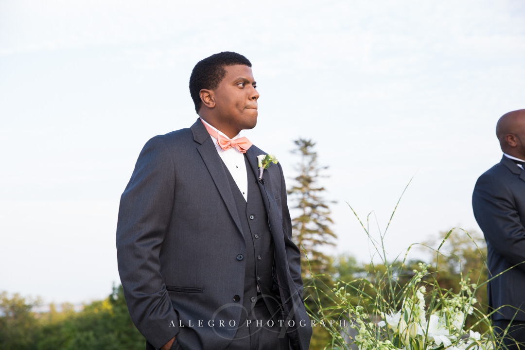 groom's first look at the crane estate - photo by allegro photography