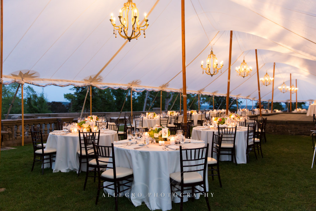 crane estate wedding reception details - photo by allegro photography