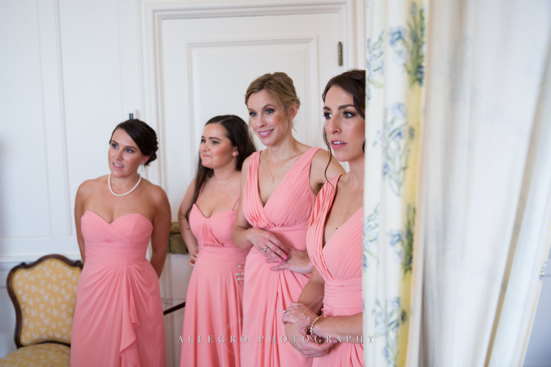 bridesmaids first look crane estate - photo by allegro photography