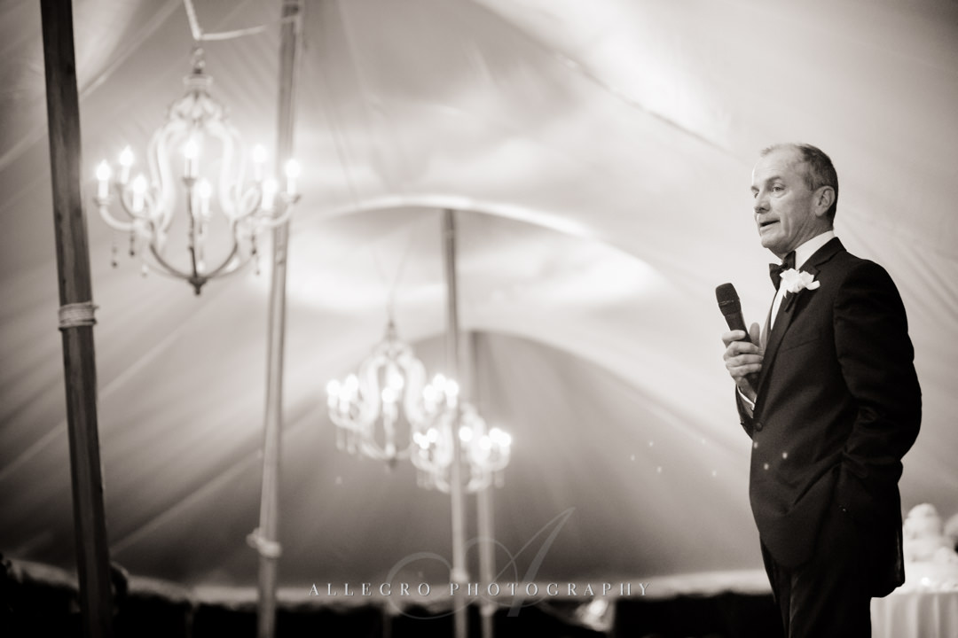 father of the bride at wedding reception - photo by allegro photography