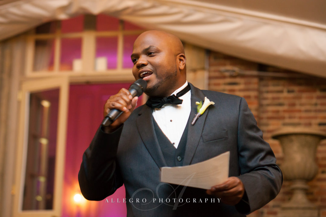 wedding toast at the crane estate - photo by allegro photography