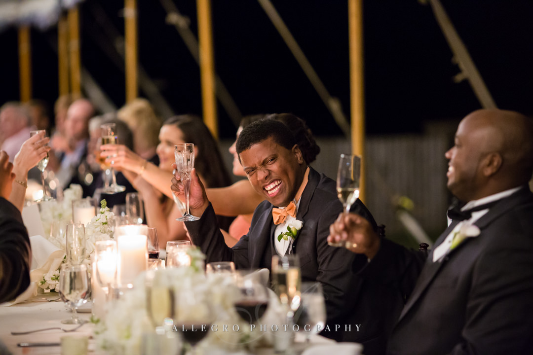 wedding reception toast laughs at the crane estate - photo by allegro photography