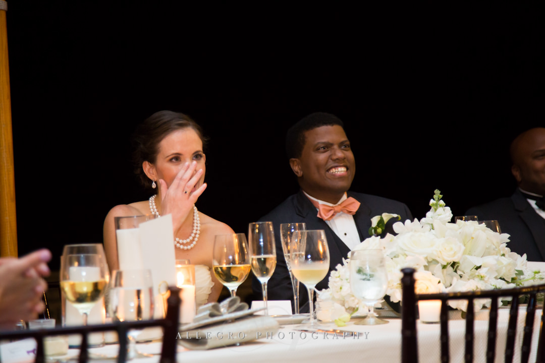 wedding reception toasts - photo by allegro photography