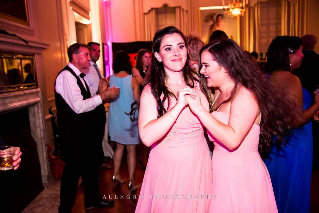 bridesmaids dancing at the crane estate - photo by allegro photography