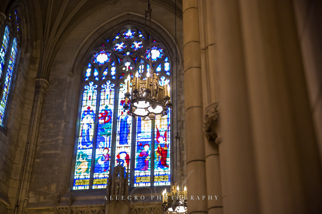 boston wedding immanuel church stained glass - photo by allegro photography