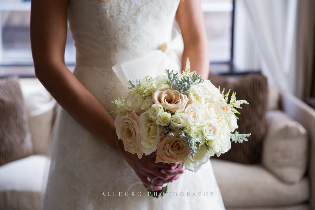 boston bride peach and white bouquet - photo by allegro photography