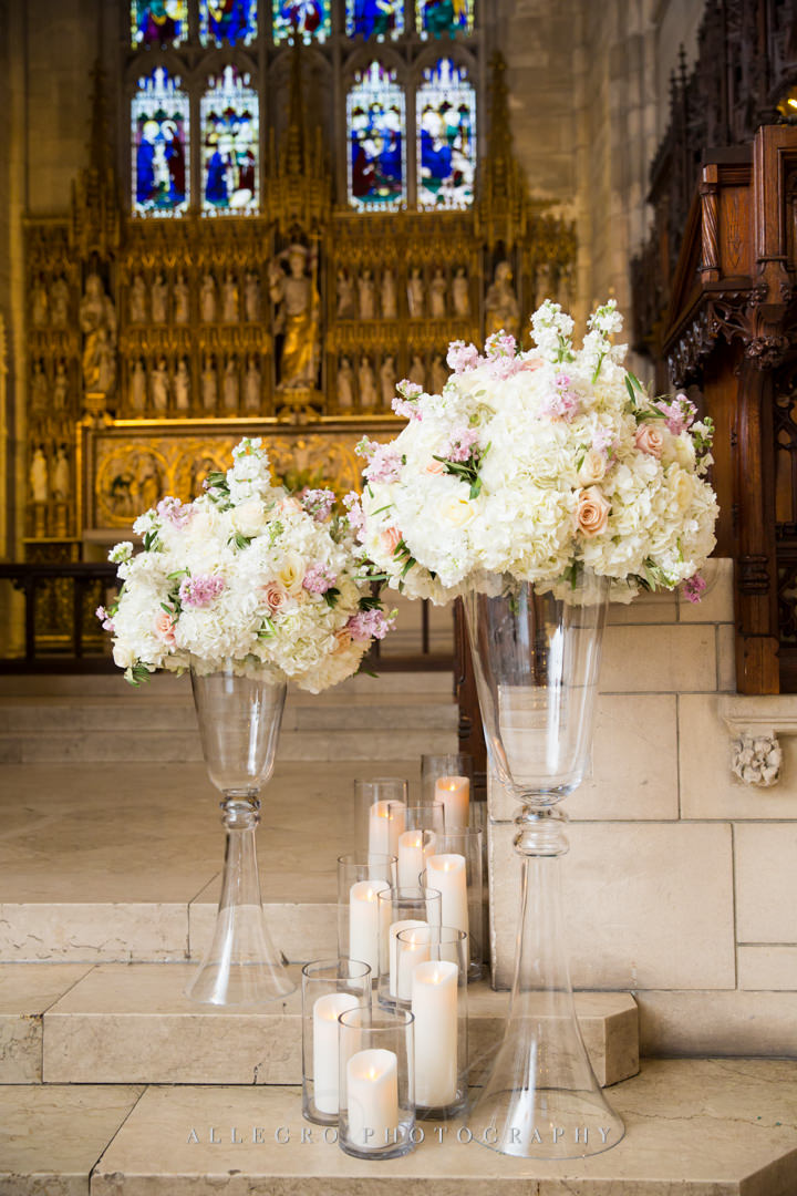 boston chapel wedding white and peach flowers - photo by allegro photography