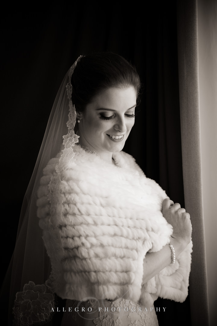 black and white bridal portrait boston - photo by allegro photography