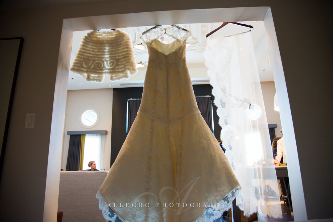 wedding dress details at the hotel commonwealth - photo by allegro photography