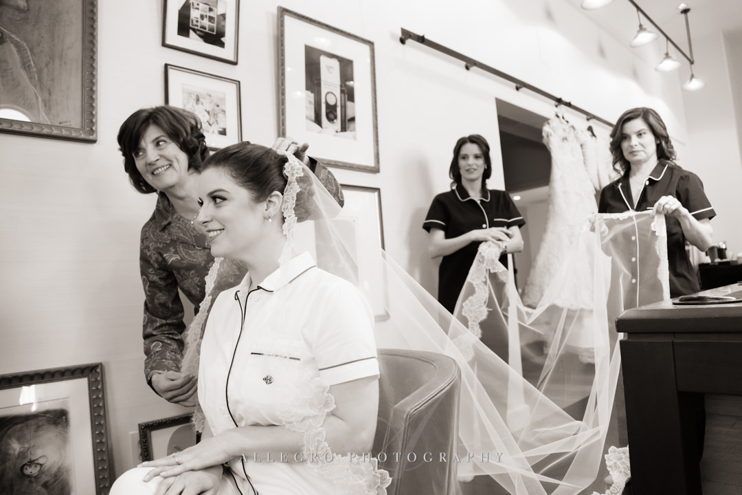 bride getting ready at the hotel commonwealth - photo by allegro photography