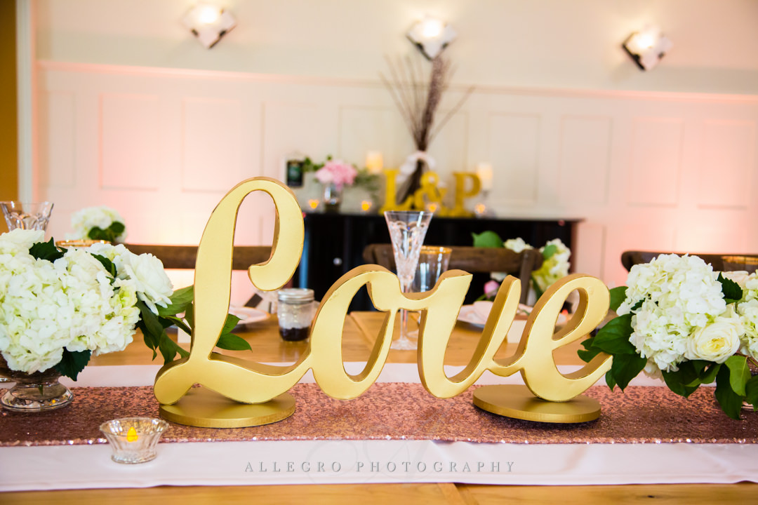 gold and pink wedding decor at mirbeau inn & spa - photo by allegro photography