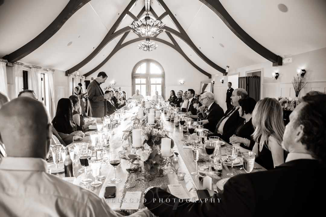 intimate wedding reception dinner at mirbeau inn & spa - photo by allegro photography
