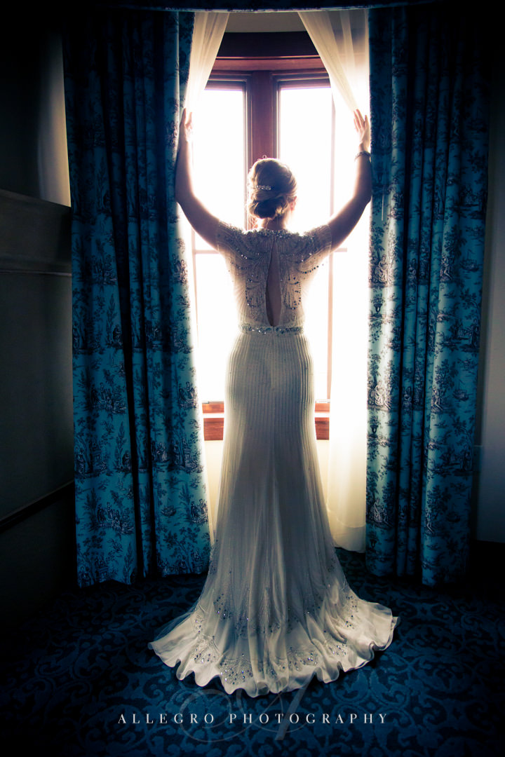 dramatic bridal portrait at mirbeau inn & spa - photo by allegro photography