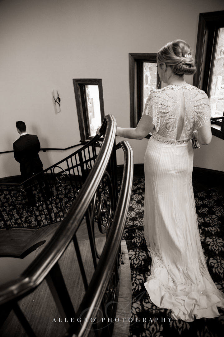 groom's first look at mirbeau inn & spa - photo by allegro photography