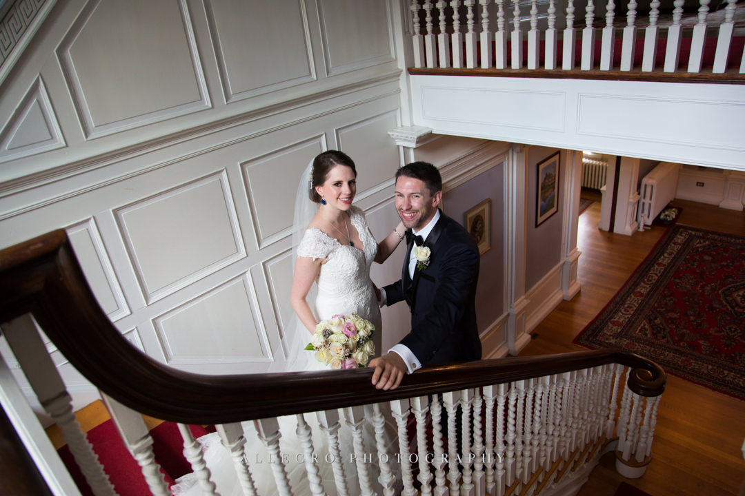 bride and groom at the pierce house - photo by allegro photography