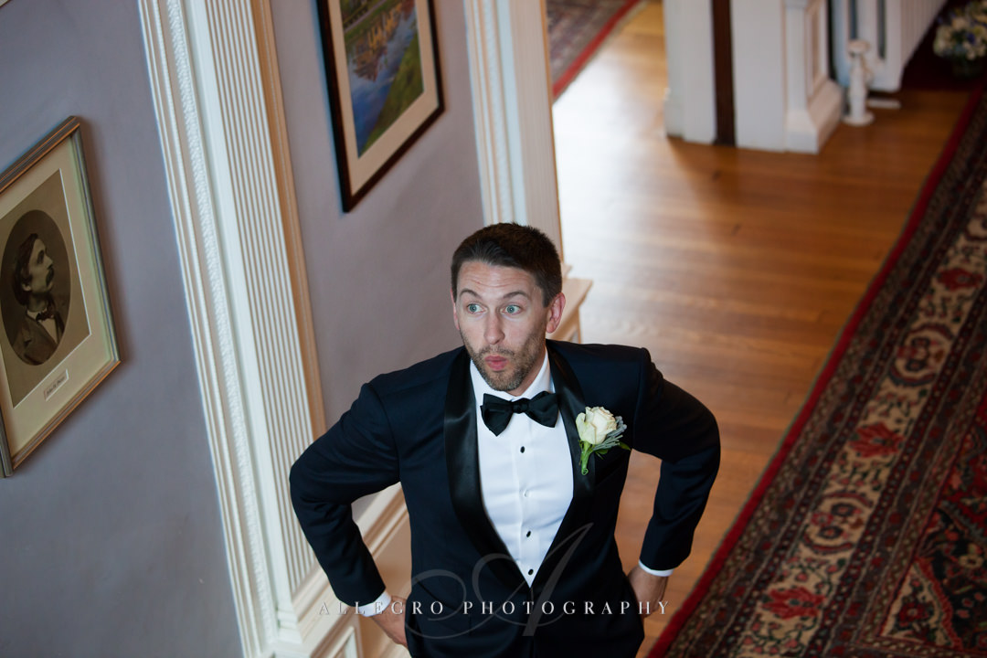 groom's first look at the pierce house - photo by allegro photography