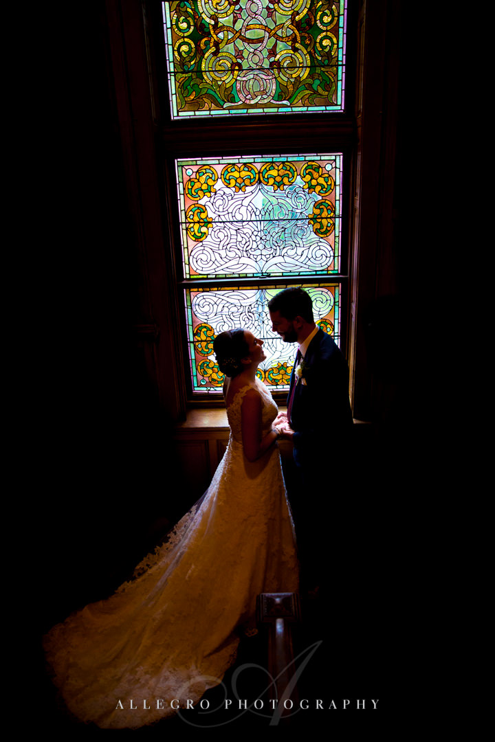 stained glass window wedding portraits - photo by allegro photography