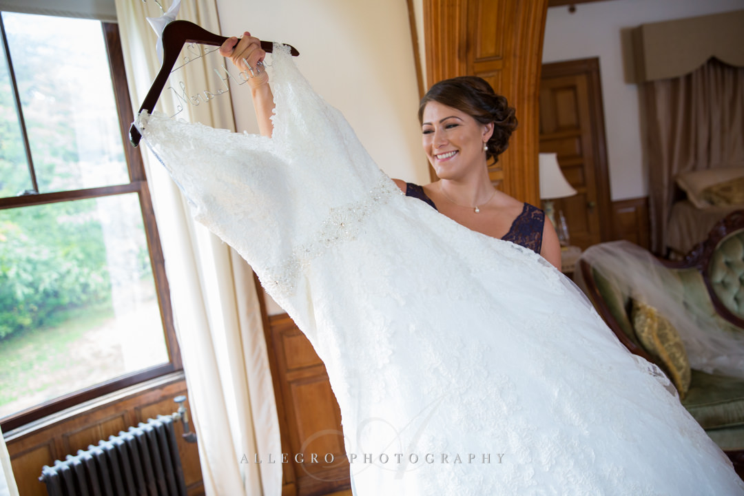 bride seeing her wedding dress at the stevens estate - photo by allegro photography