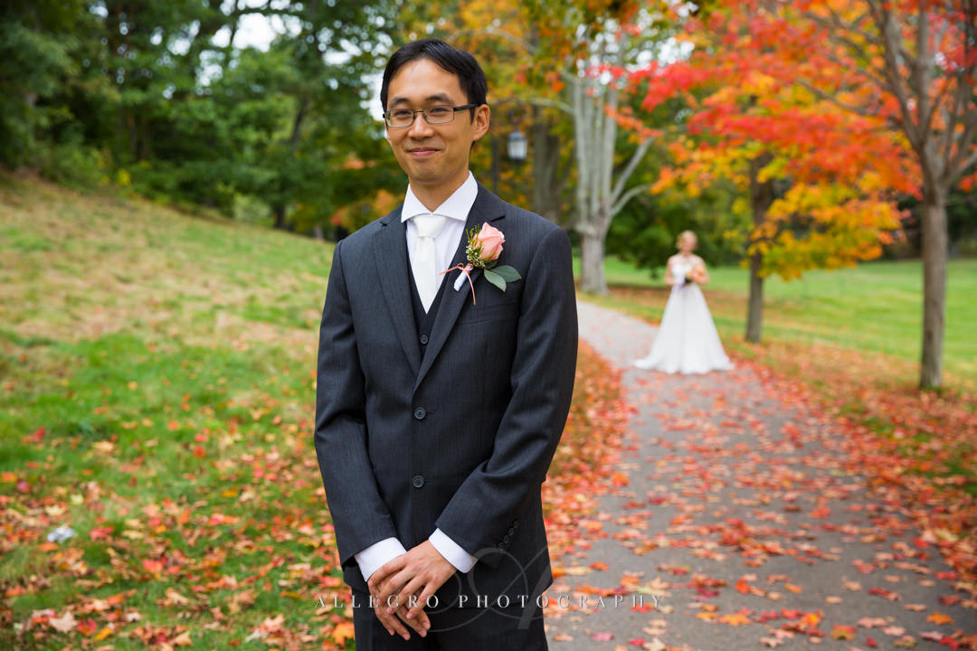 fall wedding first look boston - photographed by Allegro Photography