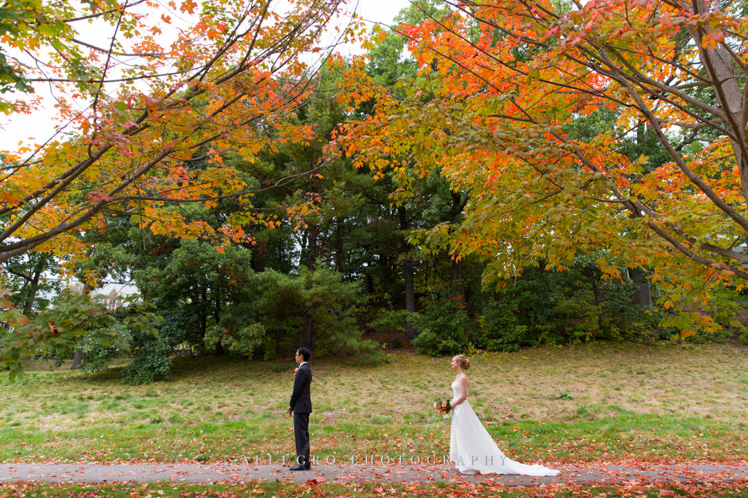 outdoor fall first look in boston - photo by allegro photography