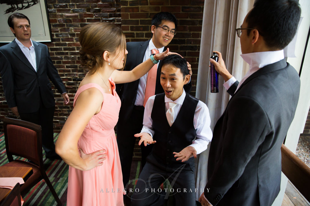 groom getting ready at the wellesley college - photo by allegro photography club