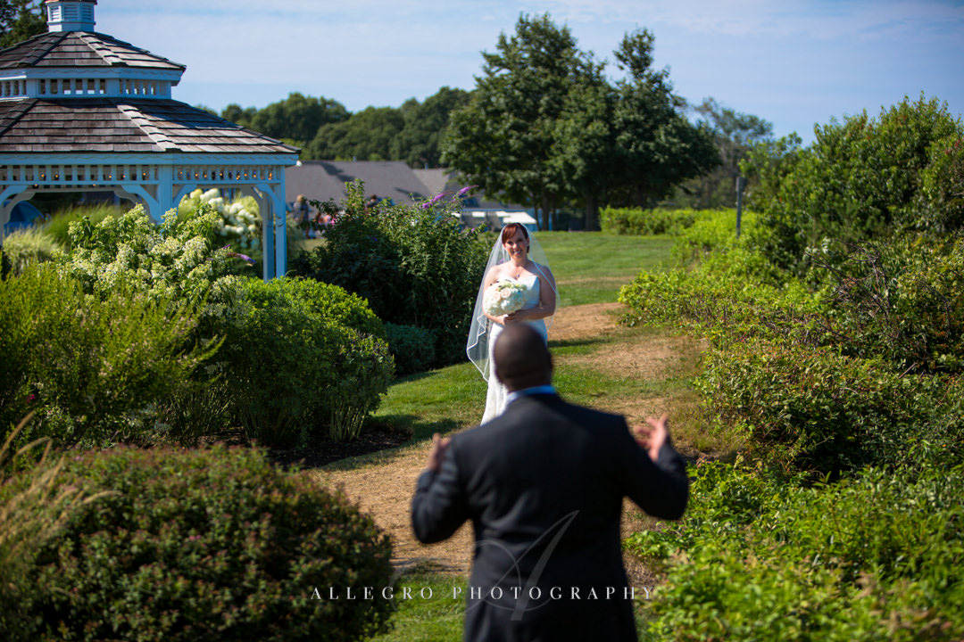 white cliffs country club grooms first look - photo by allegro photography