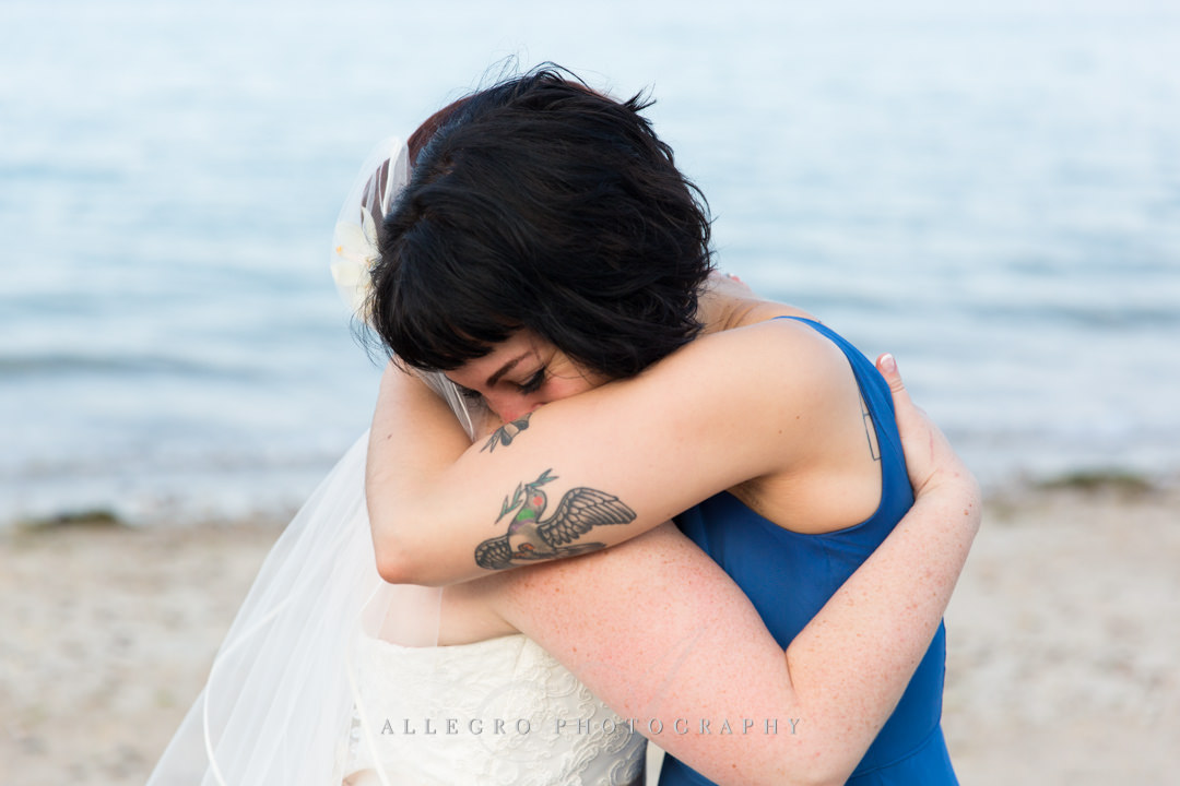 beach bride and made of honor - photo by allegro photography
