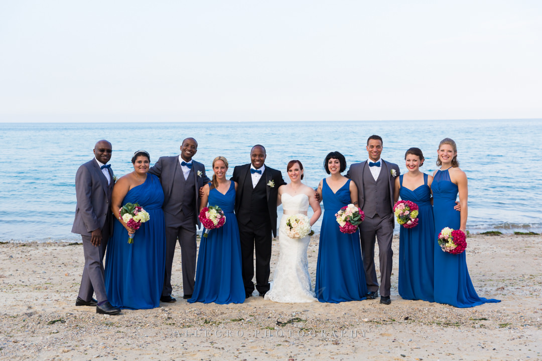 beach wedding party - photo by allegro photography