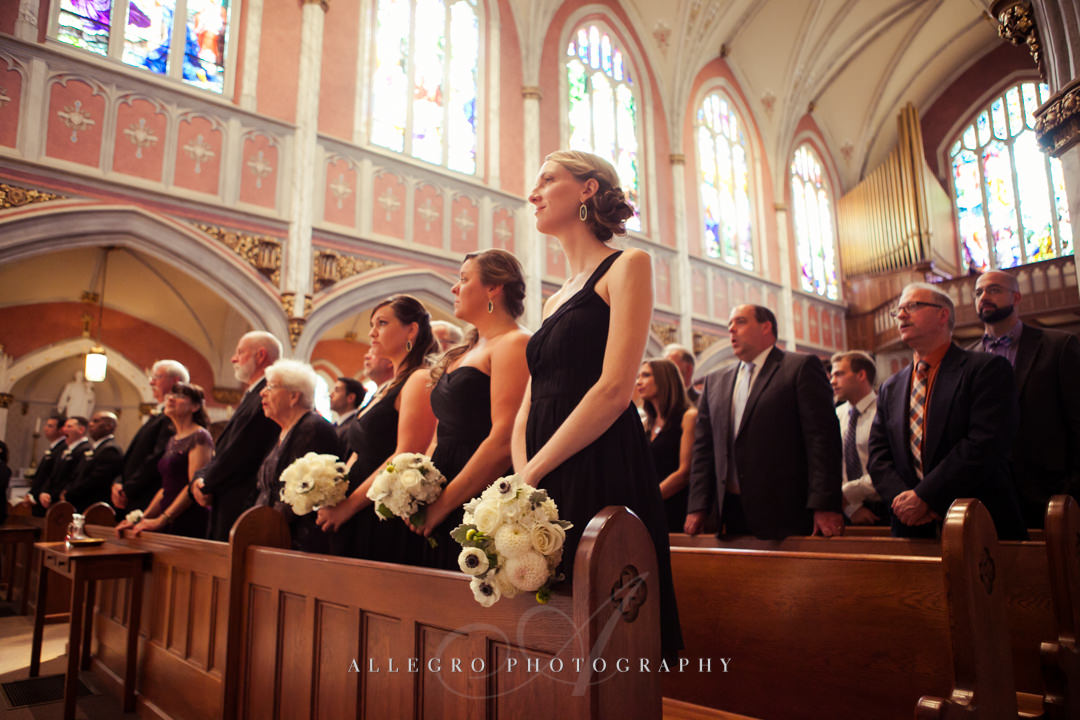 black bridesmaid dresses church wedding - photographed by allegro photography
