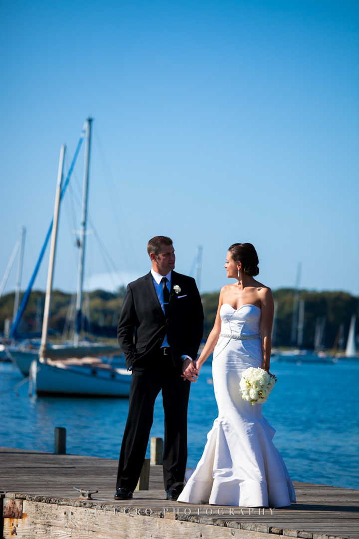 wedding portrait by water bristol rhode island - photographed by allegro photography