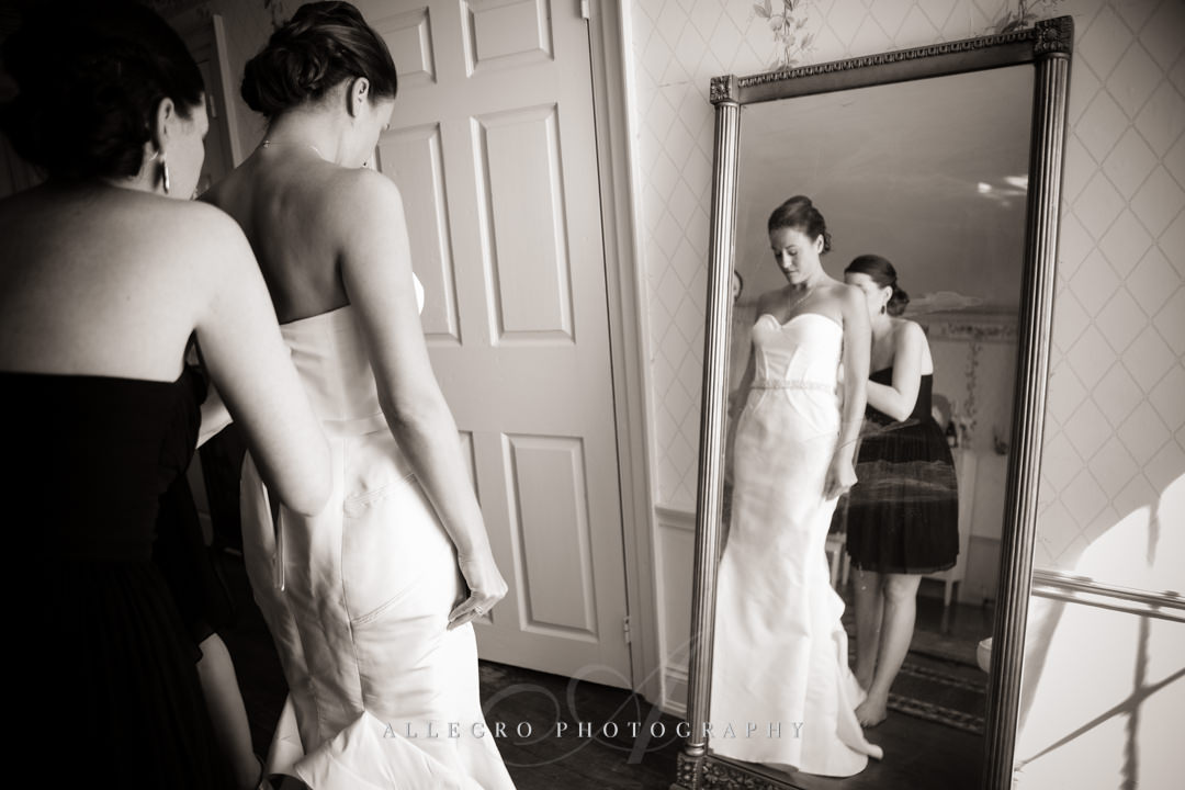 bride getting dressed boston - photographed by allegro photography