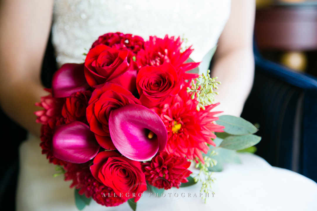red wedding bouquet - photographed by allegro photography