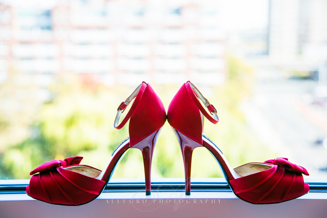 red wedding shoes - Photographed by Allegro Photography