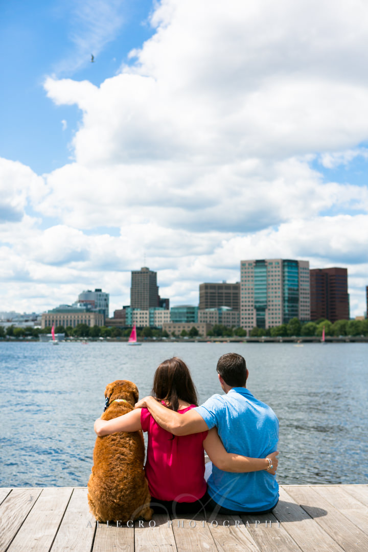 boston engagement photo with dog - photographed by Allegro Photography